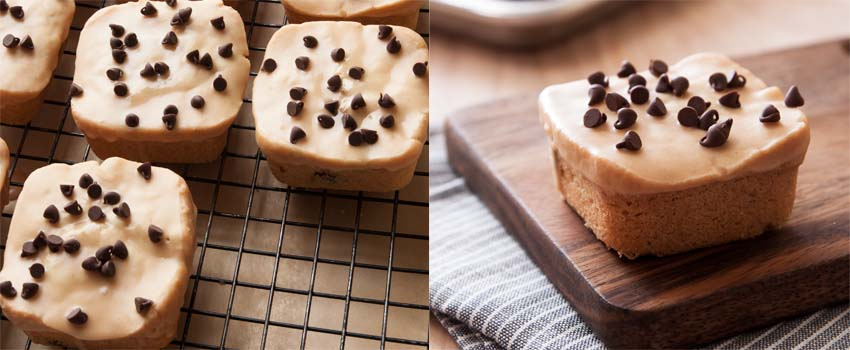 Mini peanut butter glazed peanut butter pound cake by ibakeheshoots.com
