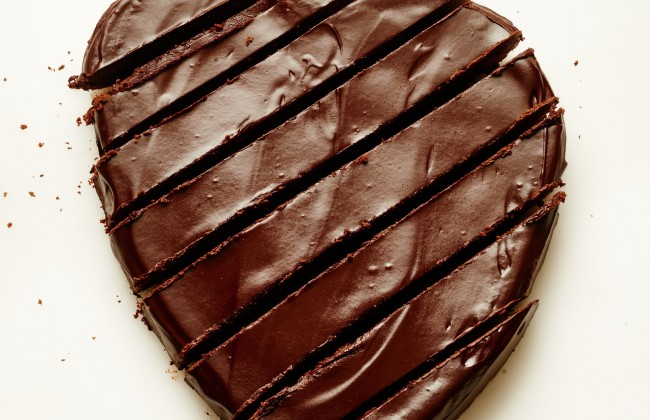 Dark Chocolate Heart Cake with Red Wine Glaze