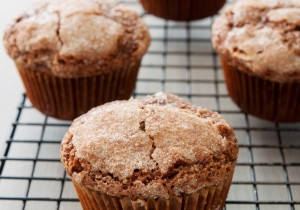Chocolate Zucchini Muffins with a crinkly sugar topping by ibakeheshoots.com